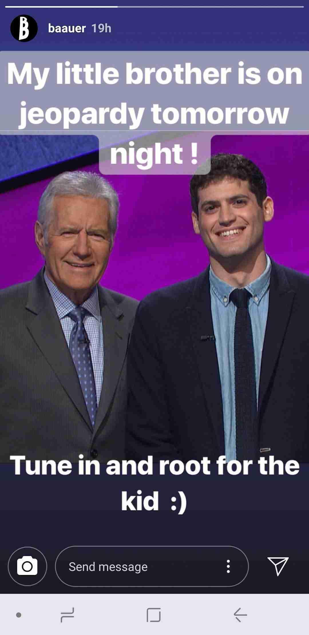 Baauer Instagram Story Brother Alex Trebek Jeopardy