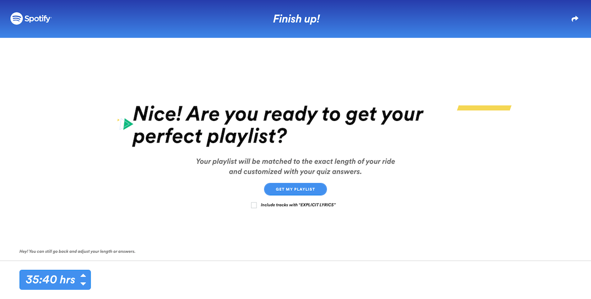 Soundtrack your Ride Spotify Get your perfect playlist