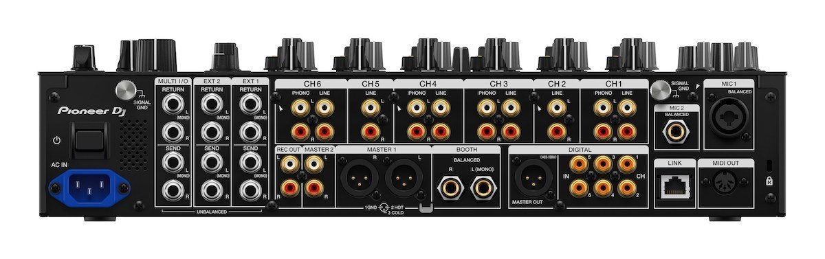 Pioneer DJ DJM V10 rear inputs and outputs